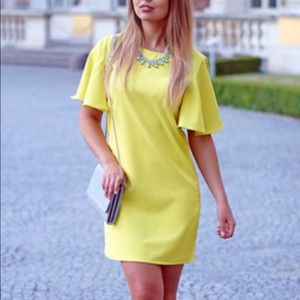 NWOT Yellow Bell Sleeves Dress